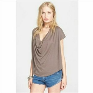 We the Free People Top Brown Knit Fantasy Cowl Tee